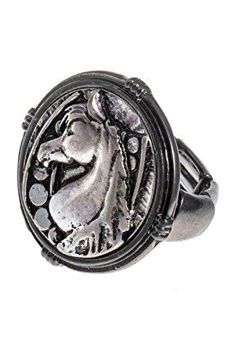 FRAMED HORSE ORNATE STRETCH RING (Hematite) (Framed Round Ring)