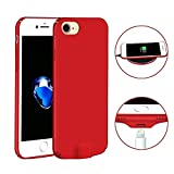 Wireless Charging Receiver Case Additional Lightening Port iPhone 7 Plus /6s Plus /6 Plus, Ultra-Thin Protective Back Cover Qi Receiver Inside -Red