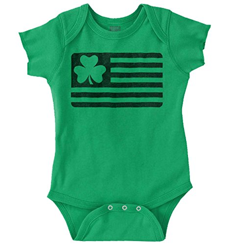(Brisco Brands ST Patrick Day Funny Shirt Shamrock Flag Cool Gift Idea PattyRomper Bodysuit,Irish Green,12 Months)