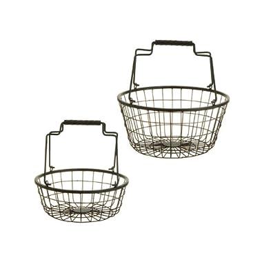 Set of 2 Tea Garden Farmers Market Rustic Weathered Finish Hanging Kitchen Storage Baskets 12
