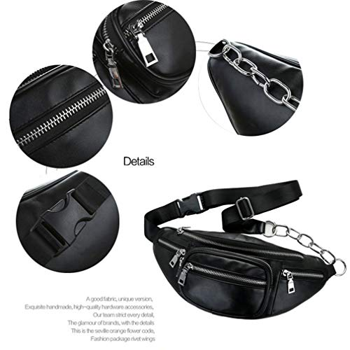 Bag Chain Color Soft Bag Pecho PU Solid Casual Waist Men Leather Negro Jiobapiongxin Metal 8wvx6fq