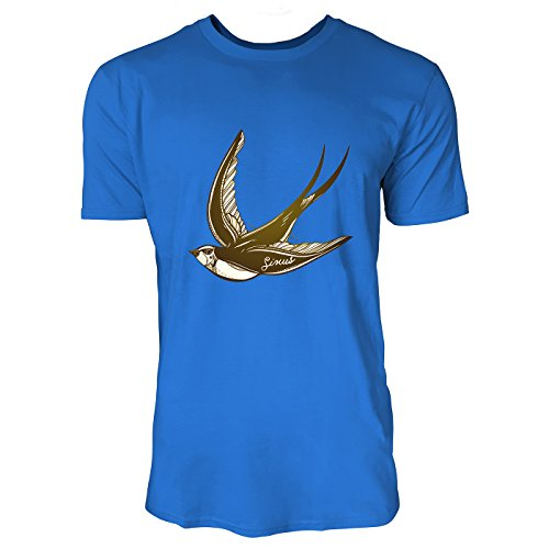 SINUS ART® Fliegende Schwalbe im Tattoo Stil Herren T-Shirts in Blau Fun Shirt mit tollen Aufdruck