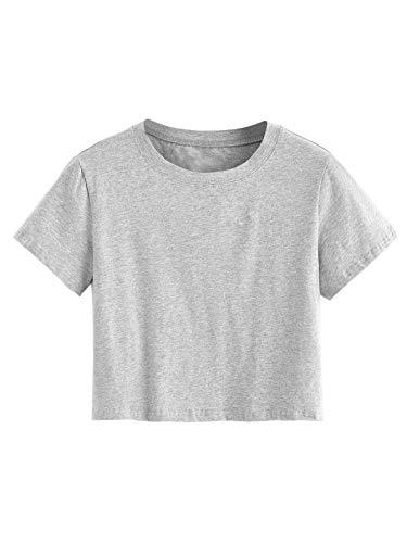 SweatyRocks Women's Short Sleeve Crew Neck Solid Basic Crop T-Shirt 1-Grey S
