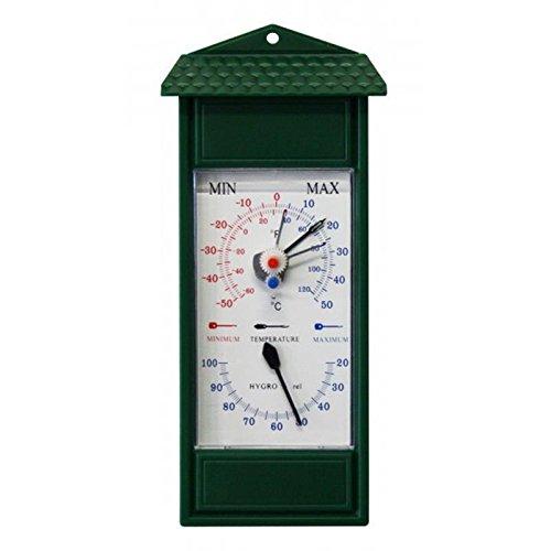 Lantelme 3201 Min/Max esterno, giardino igrometro e termometro analogico bimetallico. Giardino Termometro minimo massimo indicazione temperatura di - 50 °C fino a 50 °C. Thermo igrometro colore verde