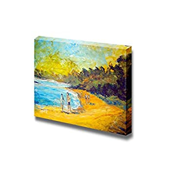 Canvas Prints Wall Art - People Walking on The Beach in Oil Painting Style | Modern Wall Decor/Home Art Stretched Gallery Canvas Wrap Giclee Print & Ready to Hang - 16