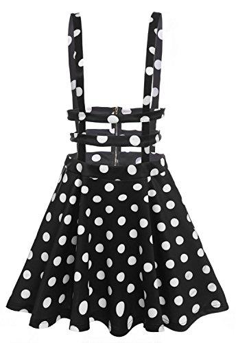 Short Dress Vintage Skirt (Bluetime Women's Vintage High Waisted Hollow Out Pleated Polka Dot Mini Skirt (S, Black white))