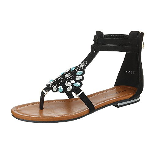 Ital-Design Zehentrenner Damen Schuhe Peep-Toe Blockabsatz Zehentrenner Reißverschluss Sandalen/Sandaletten Schwarz
