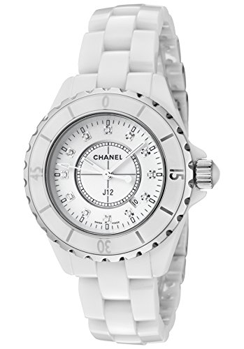 Chanel J12 White Ceramic 33 mm. Diamond Dial Quartz Watch - H1628
