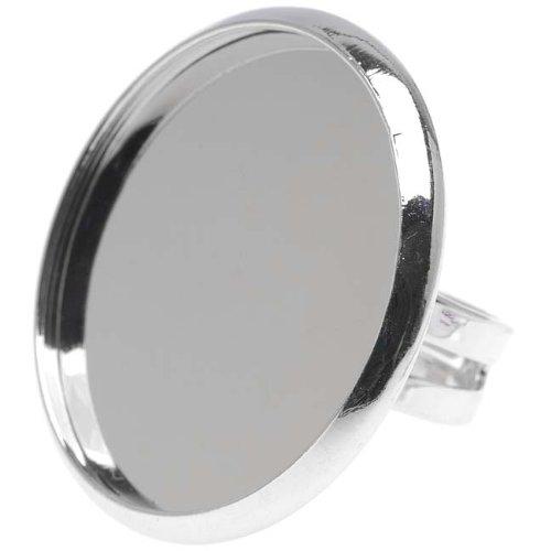 Brass Round Bezel - Beadaholique Tone Brass Round Bezel Adjustable Ring, 30mm, Silver
