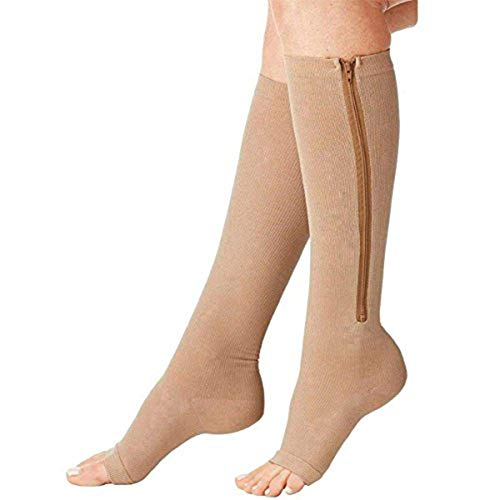 Zipper Compression Socks (2 Pairs) Compression Stocking for Swollen, Varicose Veins, Edema, Open Toe Compression Sox (Beige, L/XL)