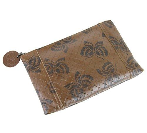 Bottega Veneta Brown Intrecciomirage Leather Pouch Bag Butterfly Clutch 301498 8402