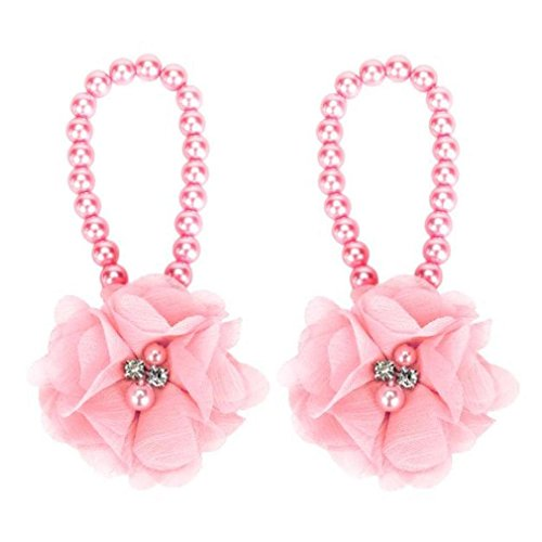 Koly 1 Par Infantil Flor pies sandalias de playa (Blanco) rosa