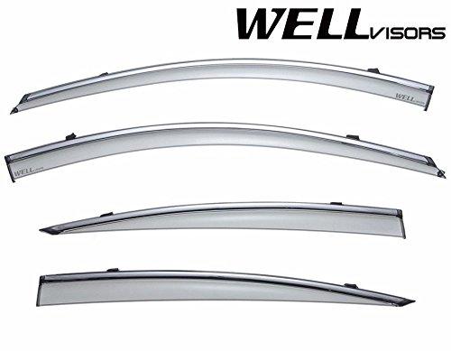 WellVisors Side Window Wind Deflector Visors - Acura TL 2009 2010 2011 2012 2013 2014 with Chrome Trim 3-847AC006-ISP