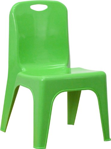 Flash Furniture Green Plastic Stackable School Chair with Carrying Handle and 11 Seat Height