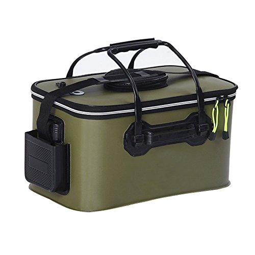 Tmat Fishing Bucket EVA Fishing Water Bucket Portable Collapsible Live Bait Bucket&Can carry Pump Kit (6.6Gal Army Green)