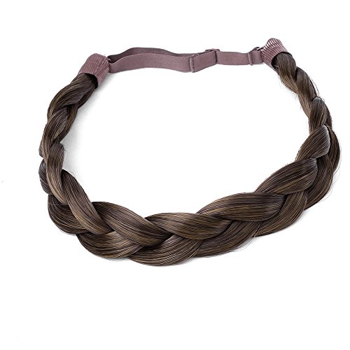 - Ty.Hermenlisa Chunky Synthetic Hair Braided Headband Classic Wide Braids Elastic Stretch Hairpiece Women Beauty accessory, 55g, Chestnut Brown