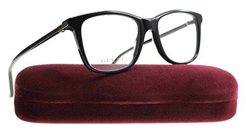 Gucci GG 0018O 001 Black Plastic Square Eyeglasses 52mm by Gucci