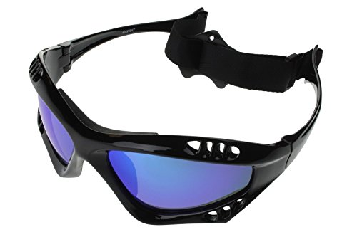 G&G Polarized Water Sports Surfing Sunglasses Black Frame Blue Mirror Lens - Sunglasses Goggles Or
