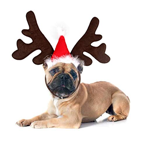 Ollypet Dog Cat Christmas Costume Reindeer Headband Hat for Pet Outfit for Small Dogs Cute Fleece Hat Party Event Apparel Funny Clothes Accessory Brown
