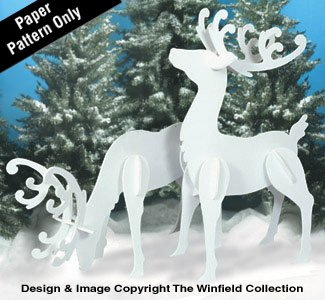 Large Elegant Reindeer Woodcraft Pattern by The Winfield Collection