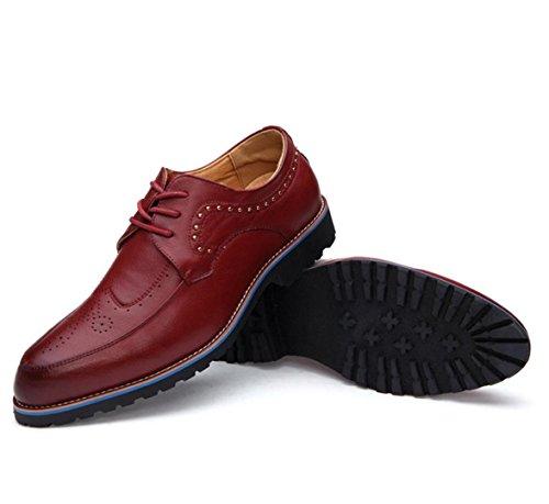 WZG Nueva Inglaterra señaló los zapatos zapatos de los hombres zapatos planos del cordón de zapatos casuales Bullock Red