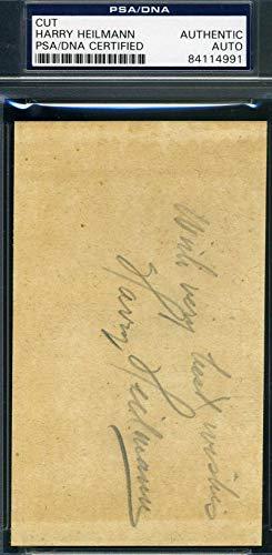 HARRY HEILMANN PSA DNA COA Autograph 3x5 Cut Signed Index Card