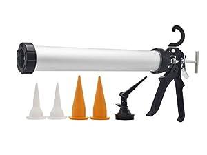 ZHTOOL 600ml Caulking Gun with Aluminum Barrel for 10oz/20oz Sausage Pack,10oz Cartridge and Bulk Application by ZHTOOL