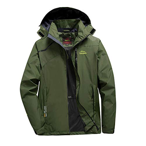 Raincoats Waterproof Jacket Plus Size,Men Fall Parka,Long Hooded Coat Outwear Zipper Jacket (Army Green (Men), L)