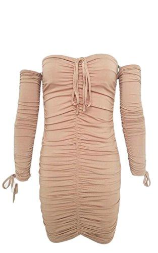 De Bandage Épaule Femmes Robe Cocktail Partie Alion Manches Longues Mini-robe 2
