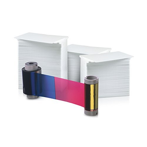 (Fargo 250 Print YMCKO Ribbon with Cleaning Roller for DTC400 and DTC400e (44280) and 300 AlphaCard Premium Blank PVC Cards Bundle )