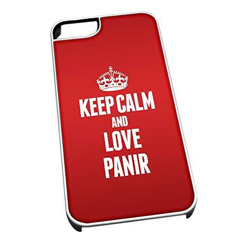 Bianco Cover per iPhone 5/5S 1345Rosso Keep Calm And Love panir