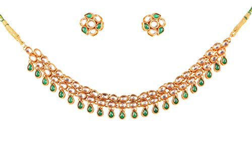 - Touchstone New Contemporary Kundan Collection Indian Bollywood Mughal Rich Kundan Look Faux Emerald Designer Jewelry Necklace Set in Antique Gold Tone for Women.