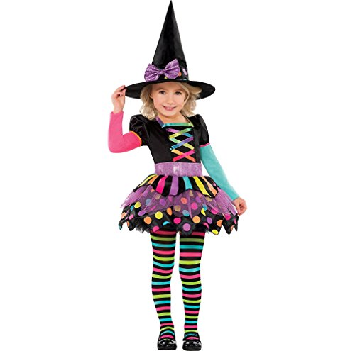 Amscan Miss Matched Witch Halloween Costume for Toddlers, 3-4T, with Included Accessories -