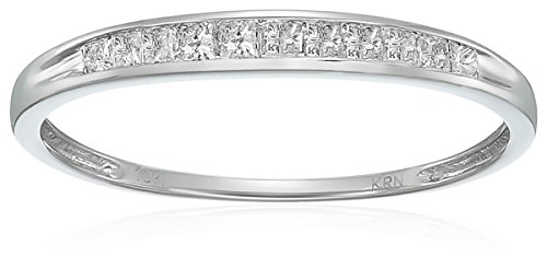 10k White Gold Princess Diamond Wedding Band (1/4 cttw,I-J Color, I2-I3 Clarity), Size 7 by Amazon Collection