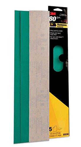 5 3M 2 3//4 x 17 1//2 STIKIT 80 Grit GREEN PRODUCTION File Sheets 32230