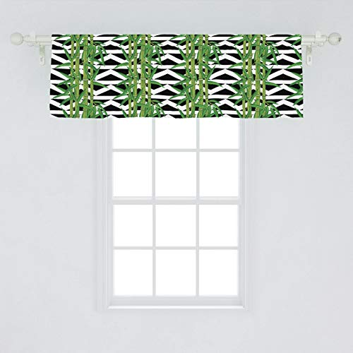 Lunarable Bamboo Window Valance, Japanese Jungle Eco Theme Tropical Nature Growth with Geometric Backdrop, Curtain Valance for Kitchen Bedroom Decor with Rod Pocket, 54