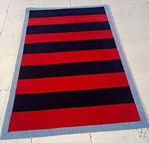 Rugby striped rug navy 5 39 x8 39 area rug kitchen for Red and white striped area rug