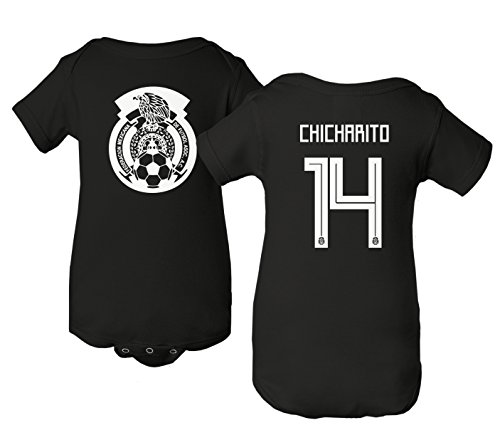 National Soccer Championships - Tcamp Mexico 2018 National Soccer #14 Javier CHICHARITO World Championship Little Infant Baby Short Sleeve Bodysuit (Black, 24M)