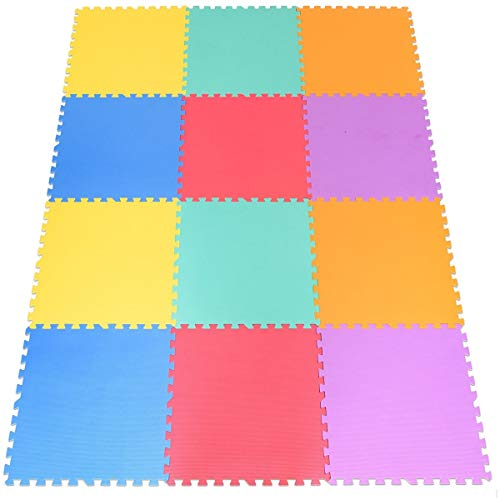 NanaPluz 12Pcs Multi Color 24″ x 24″ Interlocking Exercise Mat Baby Kids Puzzle Carpet EVA Foam Floor Protection with Ebook