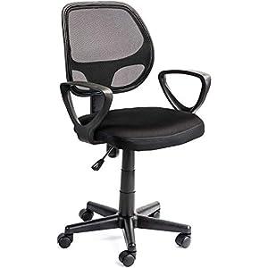 Acaza Chaise de Bureau Ergonomique, Siège à roulettes avec Hauteur réglable – Noir