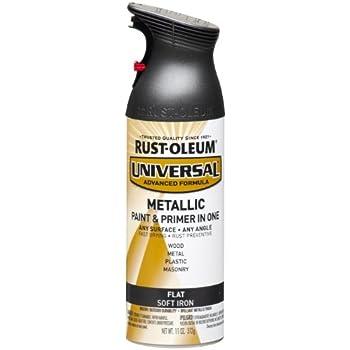 Rust-Oleum 271473 Universal All Surface Spray Paint, 11 oz, Flat Metallic Soft Iron