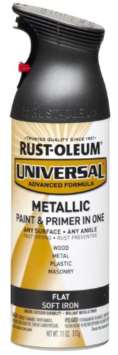 Rust-Oleum 271473 Universal All Surface Spray Paint, 11 oz, Flat Metallic Soft Iron, 11-Ounce, ()