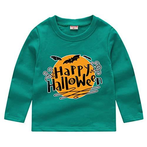 TIFENNY Fall Pullover for Toddler Baby Kids Boys Girls Halloween Print Sweatshirt Shirts Pullover Tops T-Shirt Green