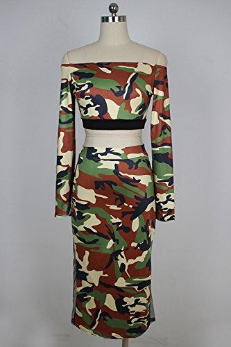 Ensemble Femmes Les Bodycon Robe Jupe Haut Zamtapary Morceaux L'paule 2 Et Camouflage Mettre Maxi 576wB