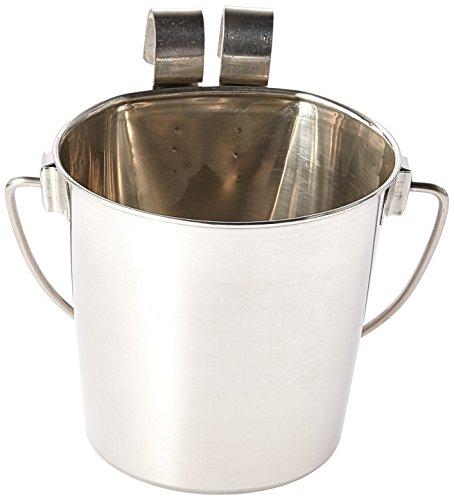 Indipets Heavy Duty Flat Sided Stainless Steel Pail, 1-Quart (Water Pail)