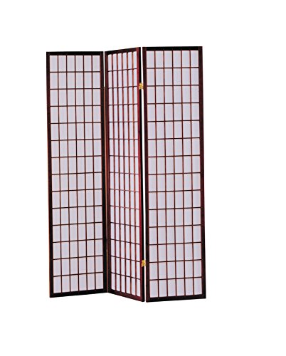 ACME 02277 Naomi 3-Panel Wooden Screen, Cherry Finish