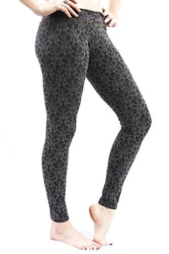 SWEET VIRTUES Women's Continuum Hand Printed Cotton-Spandex Legging XS GREY-BLACK 41frDZiCvHL