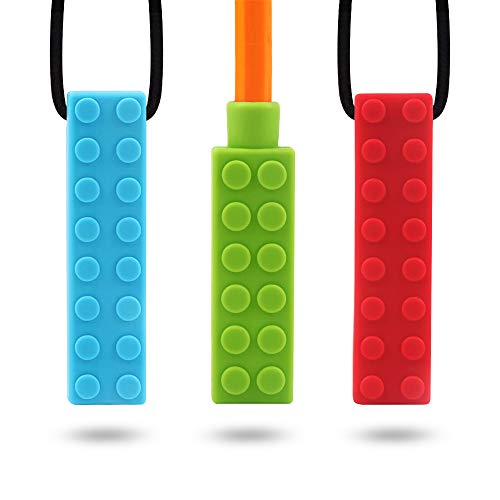 Sensory Chew Necklace for Kids TYRY.HU Chewing Silicone Chewy Brick Toys Chewelry for Boys Girls Autism, ADHD, SPD, Biting, Teething, Oral Motor, 2 Block Teethers + 1 Pencil Topper