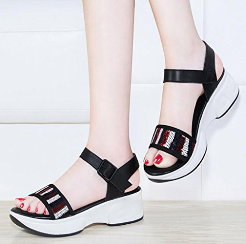 Roman sandals female summer flat sandals simple Korean wild thick shoes Flat Sandals,Fashion sandals (Color : A, Size : 35) A