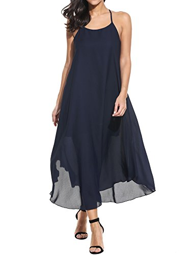 Zeagoo Women Fashion Halter Sleeveless Solid Party Beach Chiffon Long Maxi Sun Dress (Small, Navy blue)
